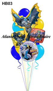 "HB03 – Have A Wow! Pow! Batman Birthday Jumbo – 64.95 (Shown) 6 – 16"" Solid Latex 1 – Batman Mega Shape 1 – 26"" Batman Themed Bubble Balloon 2 – 18"" Birthday Foils Half Size – 45.95 6 – 11"" Solid Latex 1 – Batman Mega Shape 2 – 18"" Birthday Foils"