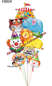 "HB04 – Happy Big Top Birthday Jumbo – 79.95 (Shown) 6 – Circus Themed Mega Shapes 2 – 18"" Happy Birthday Shapes 1 – 18"" Personalized Name Foil Balloon Half Size – 54.95 4 – Circus Themed Mega Shapes 1 – Personalized Name Foil Balloon 1 – 18"" Happy Birthday Shapes"