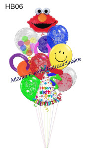 """HB06 – It's A Special Elmo Birthday Jumbo – 79.95 (Shown) 3 – 16"""" Birthday Print Latex 1 – Elmo Mega Shape 1- Personalized Party Hat Mega Shape 2 – GEO Doughnut Satellite Balloons 1 – 16"""" Gumball Specialty Latex 1 – 16"""" Double Bubble Latex 1 – 16"""" Smiley Face Latex with Twisty Half Size –49.95 4 – 11"""" Birthday Print Latex 4 – 11"""" Solid Colored Latex 2 - Doughnut Satellite Balloons 2 – 11"""" Double Bubble Latex 1 – Elmo Mega Shape 1 – 20"""" Personalized Party Hat Personalize With Your Special Someone's Name"""